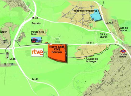 Mapa suministrado por RTVE con la nueva ubicación de la corporación