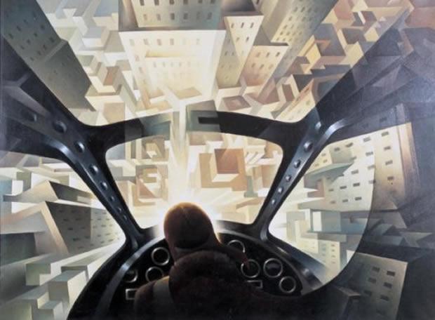 'En picado sobre la ciudad', del pintor futurista italiano Tullio Crali