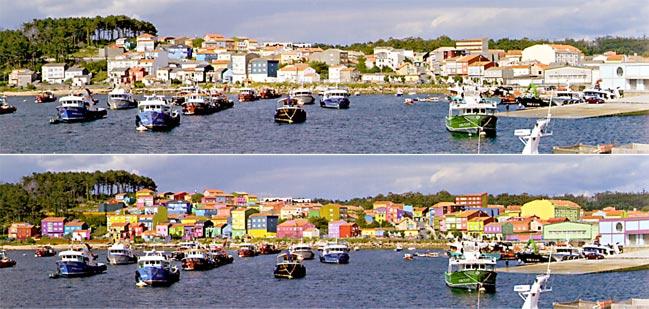 Arriba, aspecto actual de Cabo de Cruz (en el municipio de Boiro). Abajo, recreación del artista César Lombera.