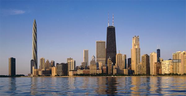 Recreación del skyline de Chicago incluyendo el rascacielos Spire (a la izquierda)