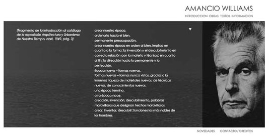 Imagen del sitio oficial de Amancio Williams