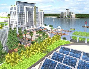 Recreación de la futura ciudad solar | Afp