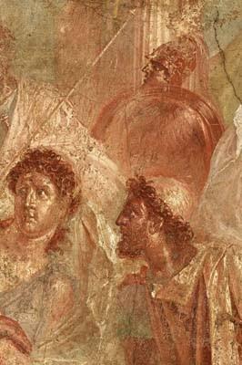 Detalle del fresco Aquiles en Esciro, de la Casa de los Dioscuros