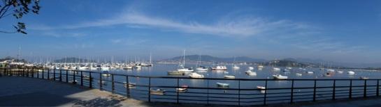 Vista panorámica de la marina en Baiona, Galicia (Foto Darío Álvarez, 2007)