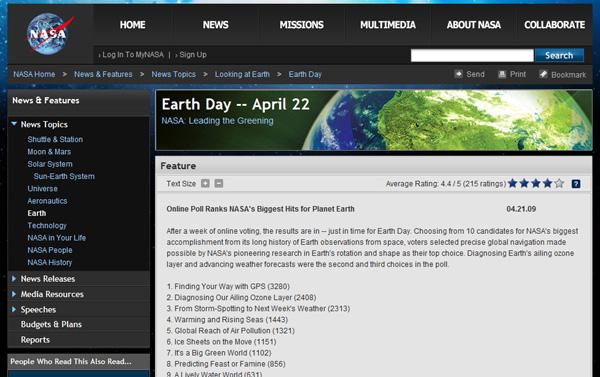 NASA - Online Poll Ranks, Earth Day
