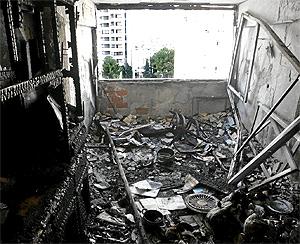 Estado en el que quedó un piso de Benidorm tras un incendio