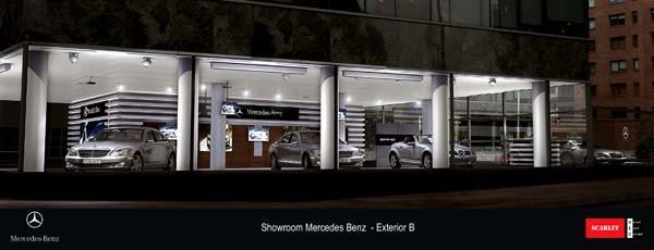 Render del frente del showroom de Mercedez Benz en Puerto Madero, de Red Scarlet