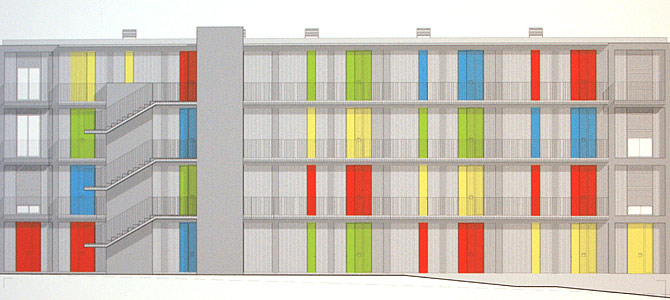 Alzado de viviendas de Manresa | Fotos: María Martínez