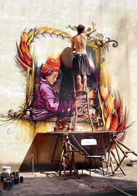 JAZZ. Delicado equilibrio para un trabajo meticuloso, en una imagen del libro Graffiti Argentina