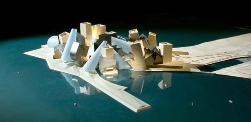 Maqueta del Proyecto para Abu Dhabi, un edificio típico de Frank Gehry