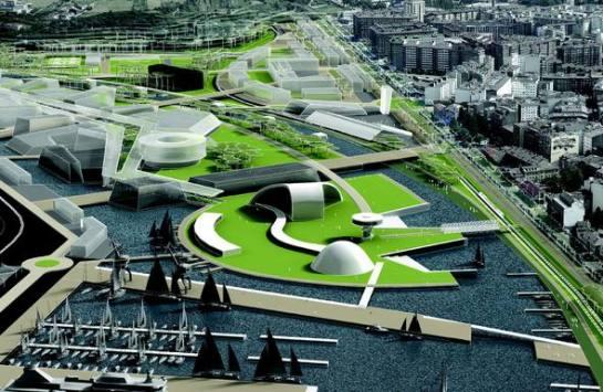 Urbanismo en la ría de Avilés en torno al Niemeyer. (Enlace inferior lleva a galería de imágenes)