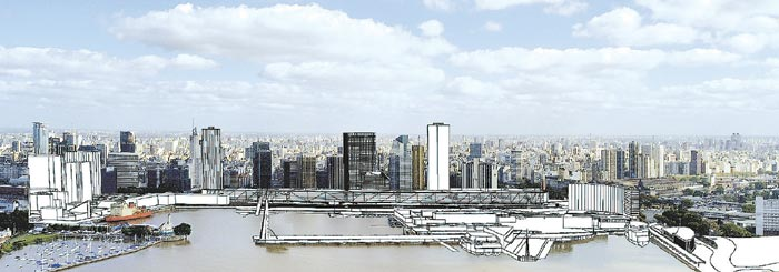Vista. Desde el río, el edificio Balcón de Buenos, recompone un frente urbano.
