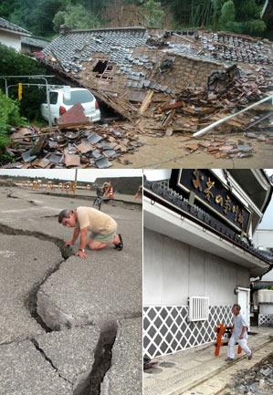 Arriba, los graves efectos del tifón Etau en la ciudad de Sayo, al oeste. Abajo, los más leves del fuerte terremoto en Shizuoka, en el centro del país. | AFP