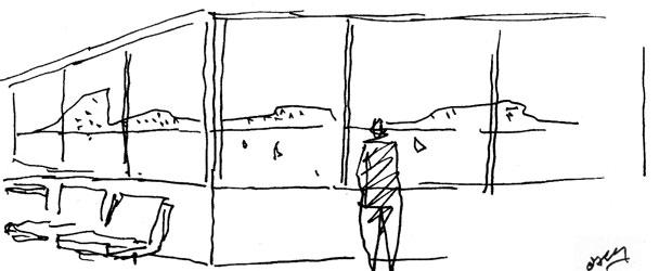Estudio de Niemeyer - Un dibujo con las vistas desde su estudio en Río de Janeiro.