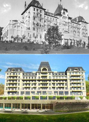 Arriba, aspecto que presentaba el Hotel hace 103 años; debajo, una recreacion del futuro aspecto del edificio.