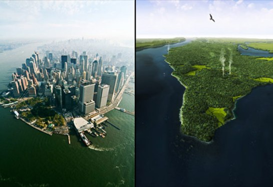 Comparación entre la isla de Manhattan en la actualidad y en 1609, cuando era un territorio virgen con una flora y una fauna abundante.