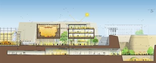 Dos planos con la obra de reconstrucción de la ópera - Proyecto:  Renzo Piano