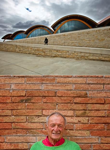 Arriba, cubierta de las bodegas Protos, en Peñafiel (Valladolid), de Richard Rogers. Abajo, el arquitecto fotografiado en CaixaForum de Barcelona, el pasado marzo.