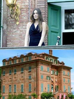 Arriba, Carla Bruni en el balcón de la mansión. Debajo, vista de la fachada del castillo.