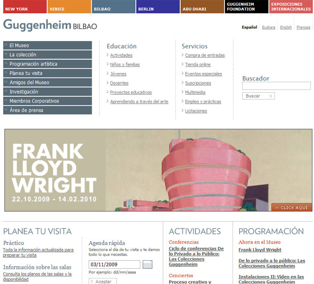 Web del Guggenheim Bilbao http://www.guggenheim-bilbao.es/