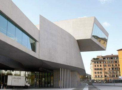 Vista exterior del museo Maxxi, realizado por Zaha Hadid en el norte de Roma.- AFP