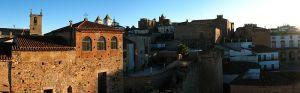 Panorámica de la parte antigua tomada desde la Torre Bujaco. En la misma se pueden observar la torre de la Concatedral de Santa María, las de San Francisco Javier y la Iglesia de San Mateo, además de parte de la muralla que rodea al recinto.