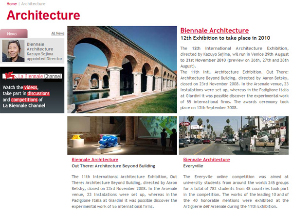 Biennale Architecture 12th Exhibition to take place in 2010 - www.labiennale.org