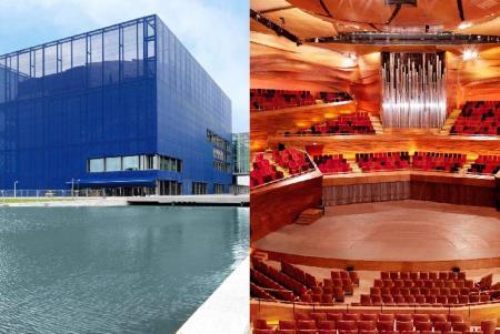 Exterior e interior del Dansk Radio Byen, en Copenhague, ideado por Jean Nouvel.-
