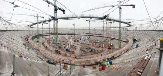 Estadio Olímpico de Londres - en construcción.  Foto: www.inhabitat.com