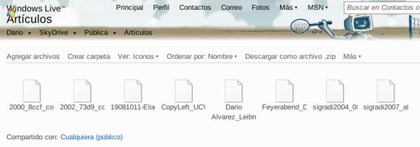 Mis artículos compartidos mediante SkyDrive de Windows Live