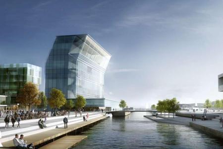 Simulación del futuro Museo Munch (el edificio inclinado de la izquierda), proyectado por Juan Herreros, enfrente del edificio de la Ópera y el Ballet Nacional de Oslo.-