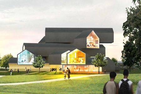 Maqueta de la VitraHaus que el estudio de arquitectura Herzog & de Meuron ha proyectado en Alemania.-