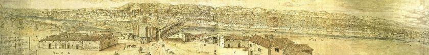 Vista de Córdoba desde el sur, por Anton Van der Wyngaerde (llamado en España «Antonio de las Viñas») en 1567