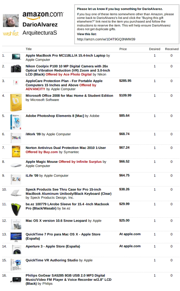 Darío JOSÉ's Wish List en Amazon.com - ArquitecturaS