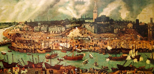 Vista del Sevilla y su puerto en el siglo XVI, por Alonso Sánchez Coello.