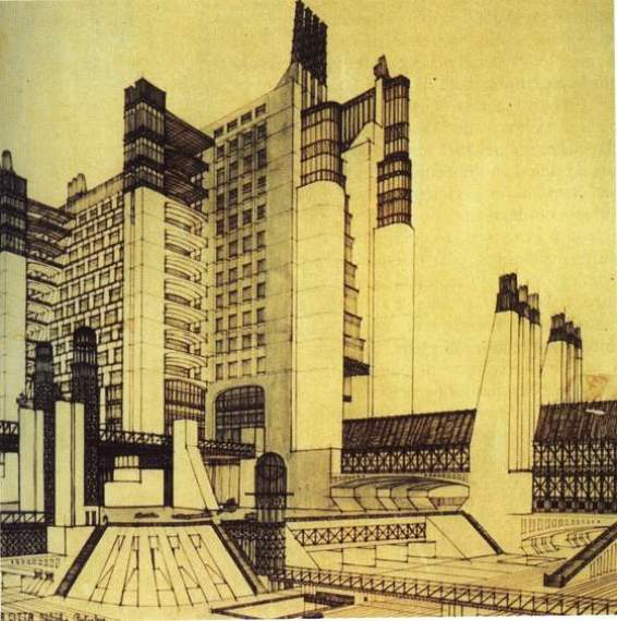 Diseño urbanístico futurista de Antonio Sant'Elia.  Wikipedia.