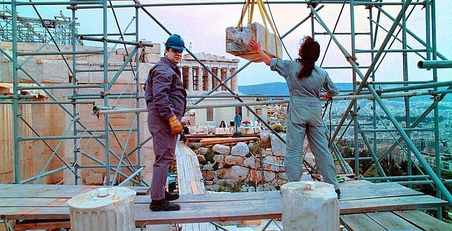 Imagen de archivo de las obras de restauración de la Acrópolis de Atenas /ABC