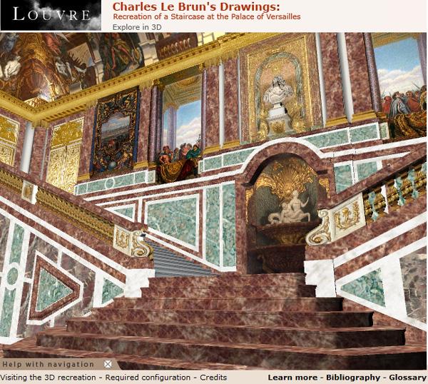 Recreación de las Escaleras del Palacio de Versailles (Web 3D del Louvre)
