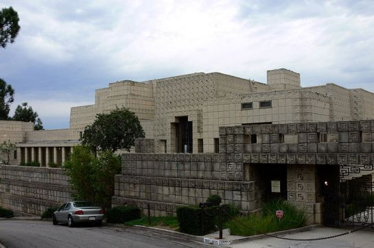 The Ennis House is a residential dwelling in the Los Feliz neighborhood of Los Angeles, California, USA, south of Griffith Park. The home was designed by Frank Lloyd Wright for Charles and Mabel Ennis in 1923, and built in 1924. Wikipedia.