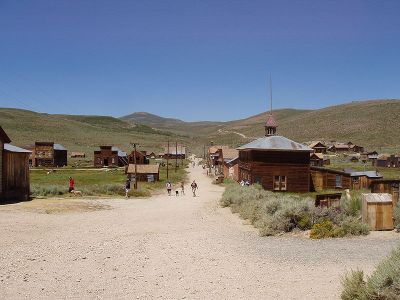 Bodie, California, as seen from the hill, looking towards the cemetery - Wikipedia