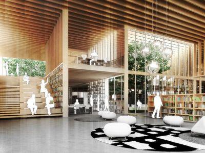 Primer premio. Una estructura modular de madera resuelve la estructura, el espacio de guardado y graderías. Clarín.com, Arquitectura