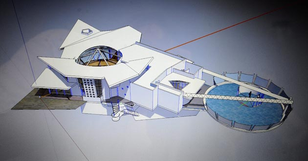 FurtureSpace Corp, Rex Beasley, del modelo de una casa del futuro con cerca de 12 habitaciones y estructuras movibles en Morengo Valley, California (EEUU)