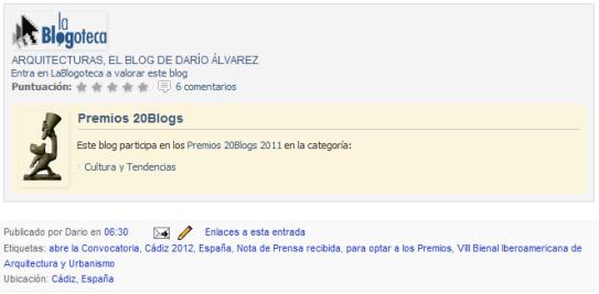 Apoya mi bitácora ArquitecturaS en los Premios20Blogs 2011 ¡Gracias!