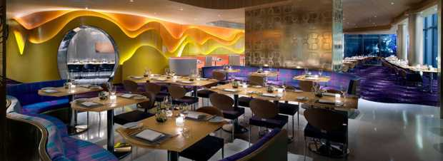 Eboli chairs by Cadpdell have been set up in the dining room of Karim Rashid's restaurant  (Las Vegas)