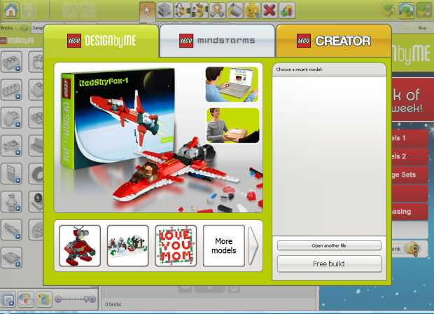 Pantalla inicial del Lego Digital Designer 4 - Microsoft Windows (también disponible para MAC OS X)