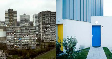 Edificios originales (izqda.) y viviendas renovadas (dcha.) en la periferia de París. | ELMUNDO.es