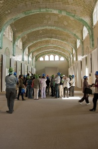 Durante el 48H Open House Barcelona, arquitectos, planifcadores y usuarios han compartdo su experiencia, han intercambiado opiniones con los visitantes. (Hospital de Sant Pau). Foto: Sandra Rojo.