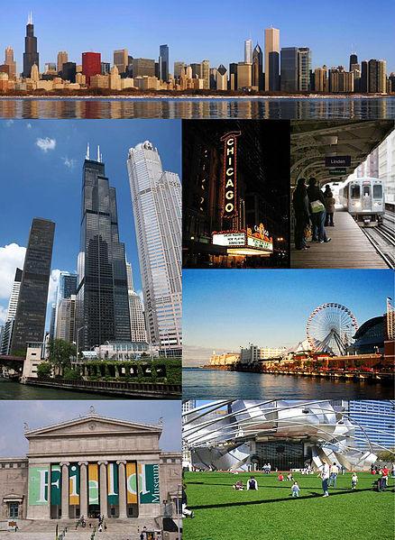 De arriba a derecha: Centro de Chicago, el Teatro de Chicago, Chicago 'L', Navy Pier, Millennium Park, el Field Museum, y la Torre Willis - Wikipedia