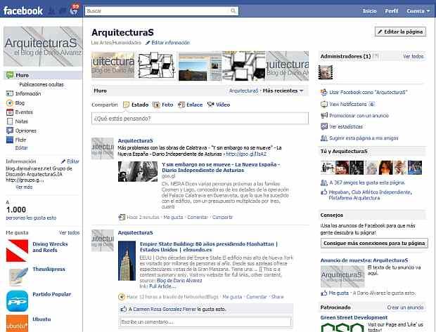 A la izquierda de la imagen:  1.000 seguidores en nuestra página Facebook