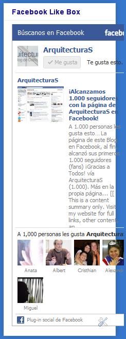 "Facebook Like Box, mostrando que ""A 1,000 personas les gusta ArquitecturaS."""